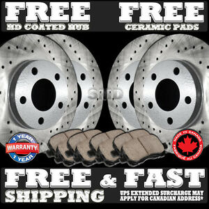 REAR PERFORMANCE DRILLED BRAKE ROTORS AND 8 CERAMIC PADS P0394 FRONT