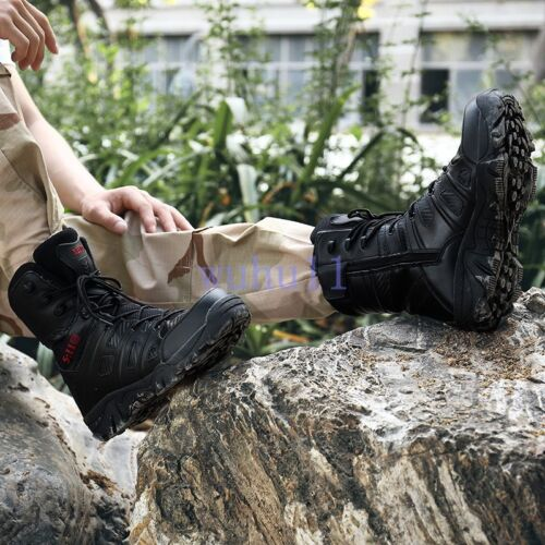Men/'s Military Side Zip Boots Waterproof Hiking Combat Boots Army Boots Outdoor