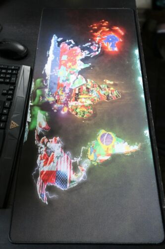 Wrist Wrest Extended Gaming Mouse Pad Non-Slip Base World Map