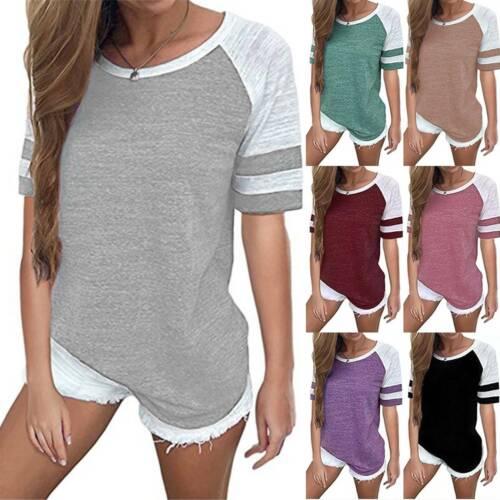 Women Striped Short Sleeve Tops Ladies Summer Crew Neck Casual T Shirt Blouse