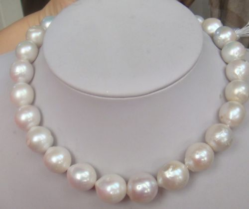 classic 12-14mm south sea white pearl necklace 18inch