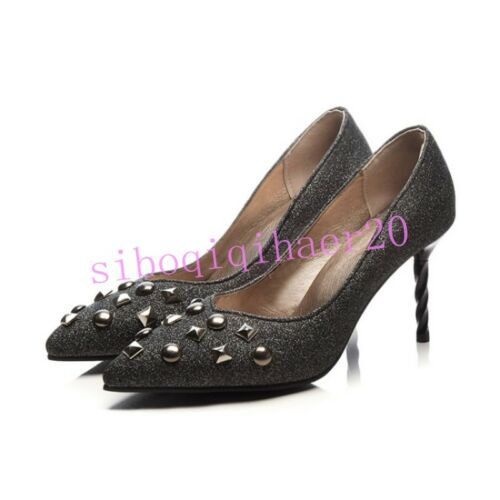 Details about  /Sexy Womens Pull On Pumps Shoes Rivet Stilettos Heels Nightclub Pointy Toe Sizes
