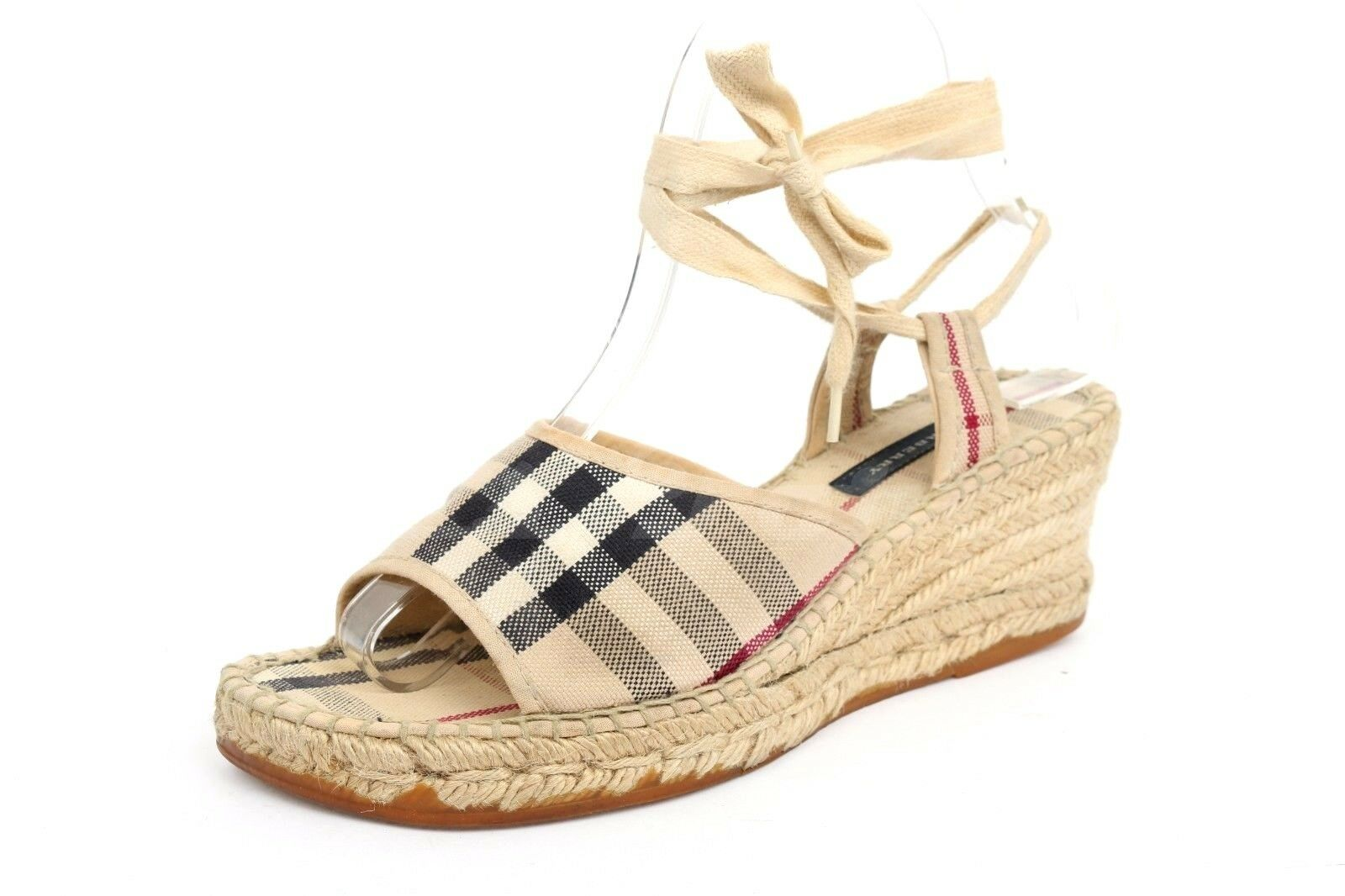 BURBERRY Brand Signature Pattern Fabric Fabric Fabric Ankle Strap Sandals   Wedges Sz. 36  más descuento