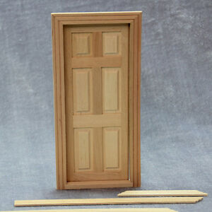 1-1-12-Puppenhaus-Dollhouse-Miniature-Unpainted-Holz-6-Panel-Tuer-mit-Rahmen