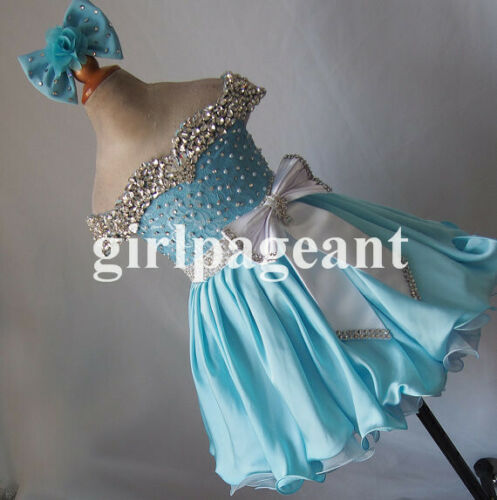 Infant//toddler//baby Crystals//rhinestone off shoulder Pageant Dress G217