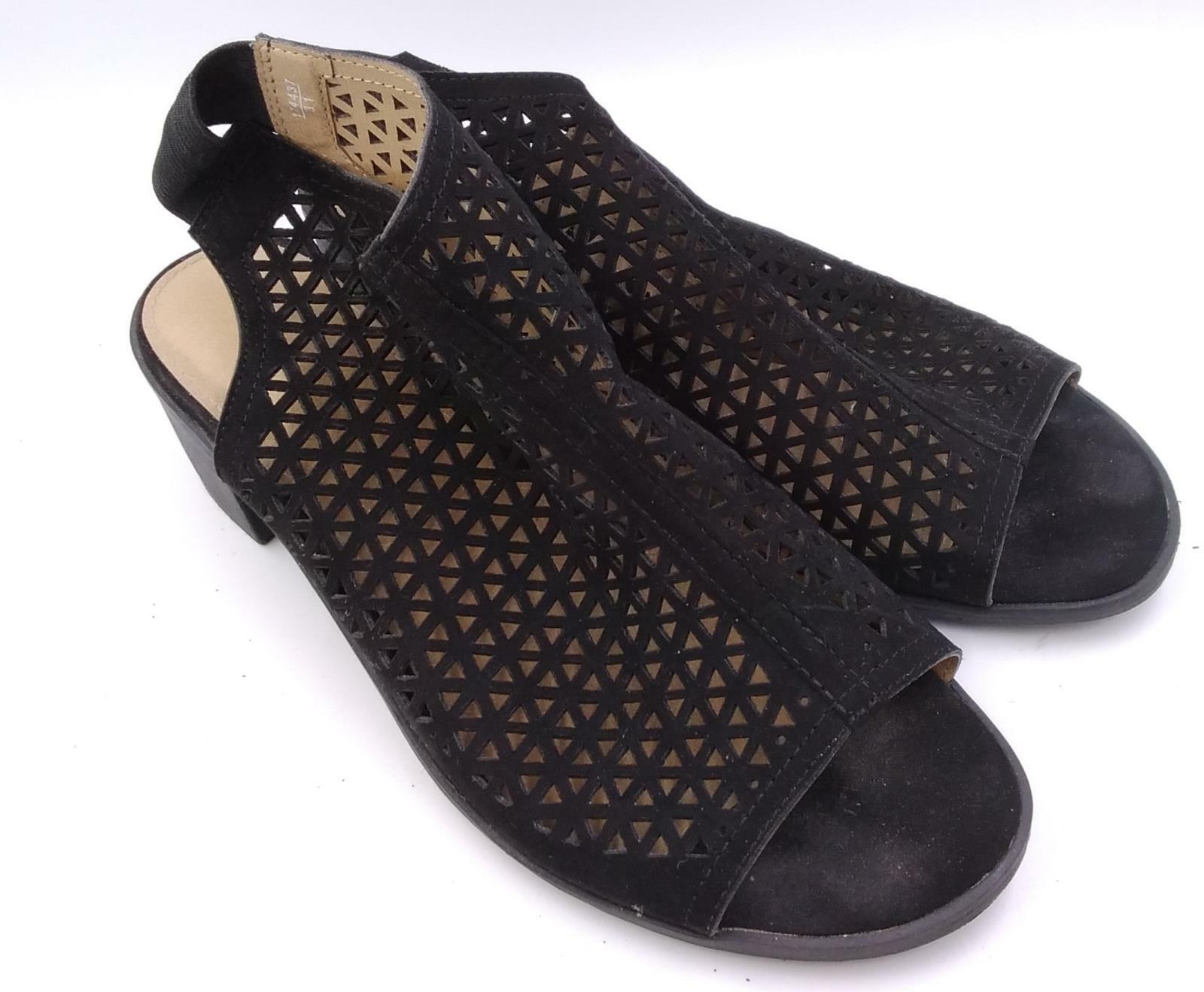 American Eagle Womens Black Vista Hooded Block Heel Slingback Sandal Size 8W