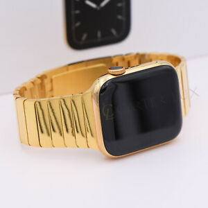 44mm Apple Watch Series 5 Stainless Steel 24k Gold Plated Polished Gold Link Ebay