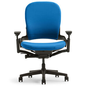 New large steelcase leap plus adjustable desk chair buzz2 blue fabric