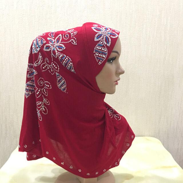 New Rhinestone Muslim Women Headscarf Islamic Hijab Cap Arab Turban Scarf Shawls