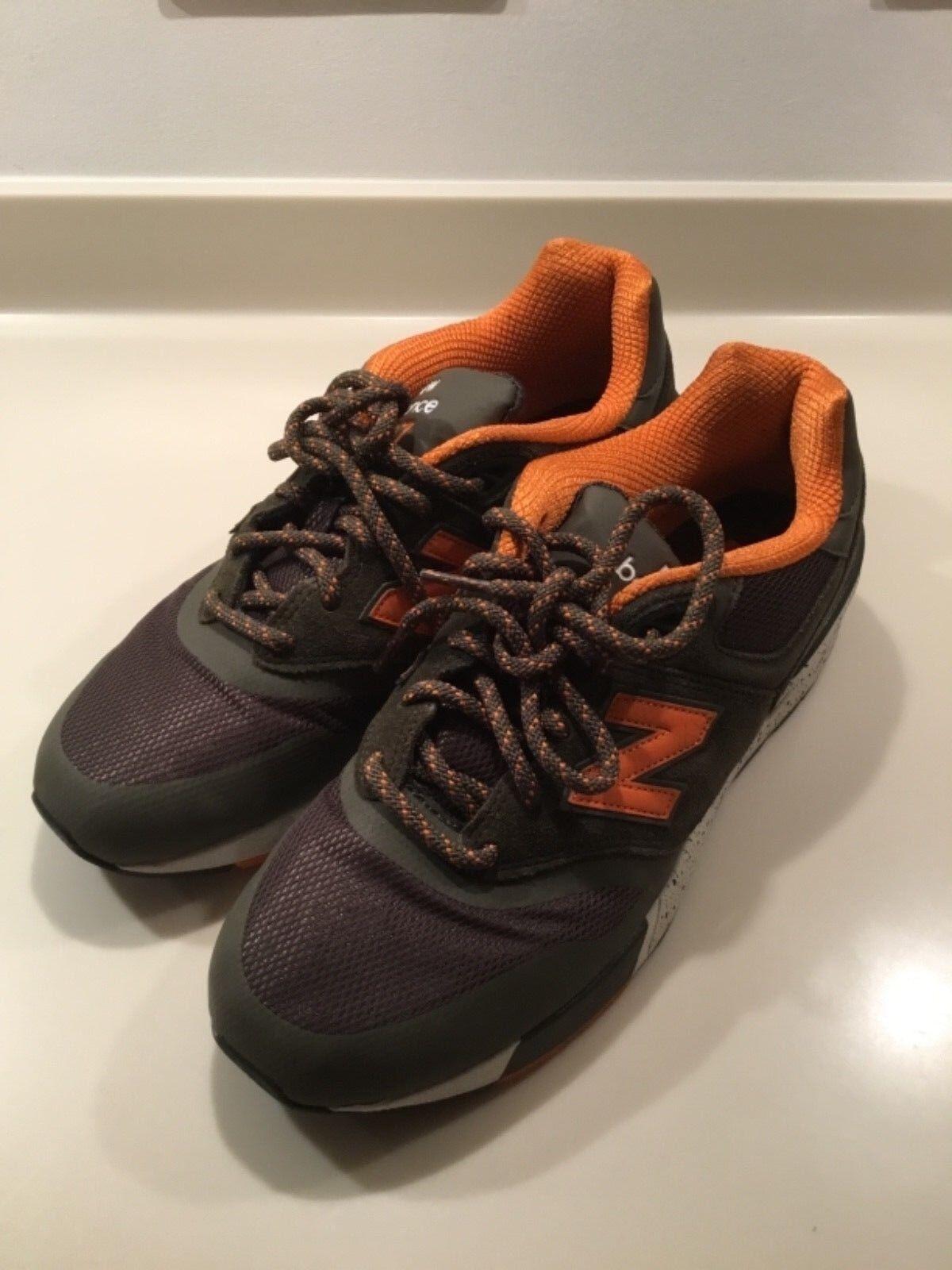 Mens Größe 9 New Balance 597 Trainers Khaki Grün Orange Worn Twice