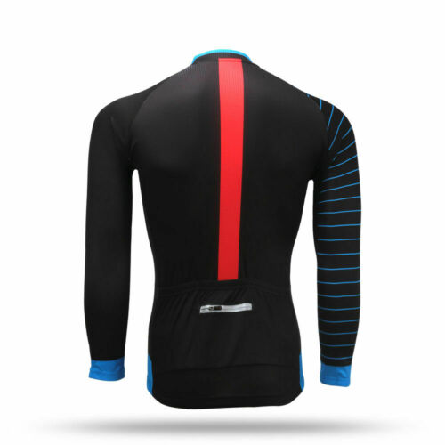 Men/'s Long Sleeve Cycling Jersey Top with Reflective Zip Pocket White Black