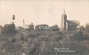 C81-Barnesville-Minnesota-Mn-Real-Photo-RPPC-Postcard-c1910-Catholic-Church