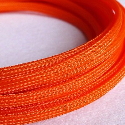 5M x 6MM Orange High Densely Expandable Braided Dense PET Sleeving Cable 3 Weave