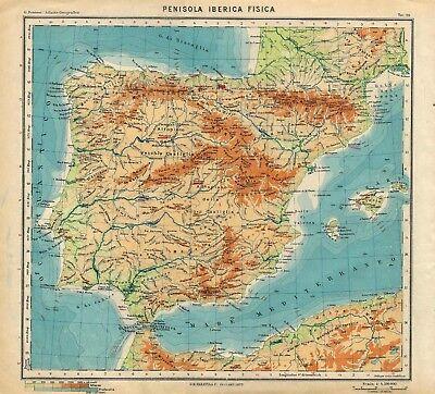 La Spagna Cartina Fisica.Carta Geografica Antica Spagna Portogallo Fisica Paravia 1941 Old Antique Map Ebay
