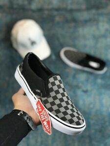 c96eb4a7c6 Men s Vans Classic Slip-on Black Pewter Checkerboard Fashion ...