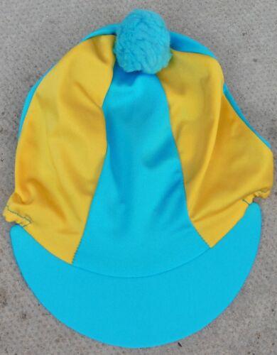 uni avec ou sans pompon Équitation Chapeau soie tête Cap couverture TURQUOISE /& JAUNE