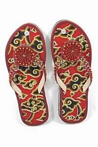 Batik-Fabric-Flat-Women-Shoes-Maroon-With-Glittering-Beads