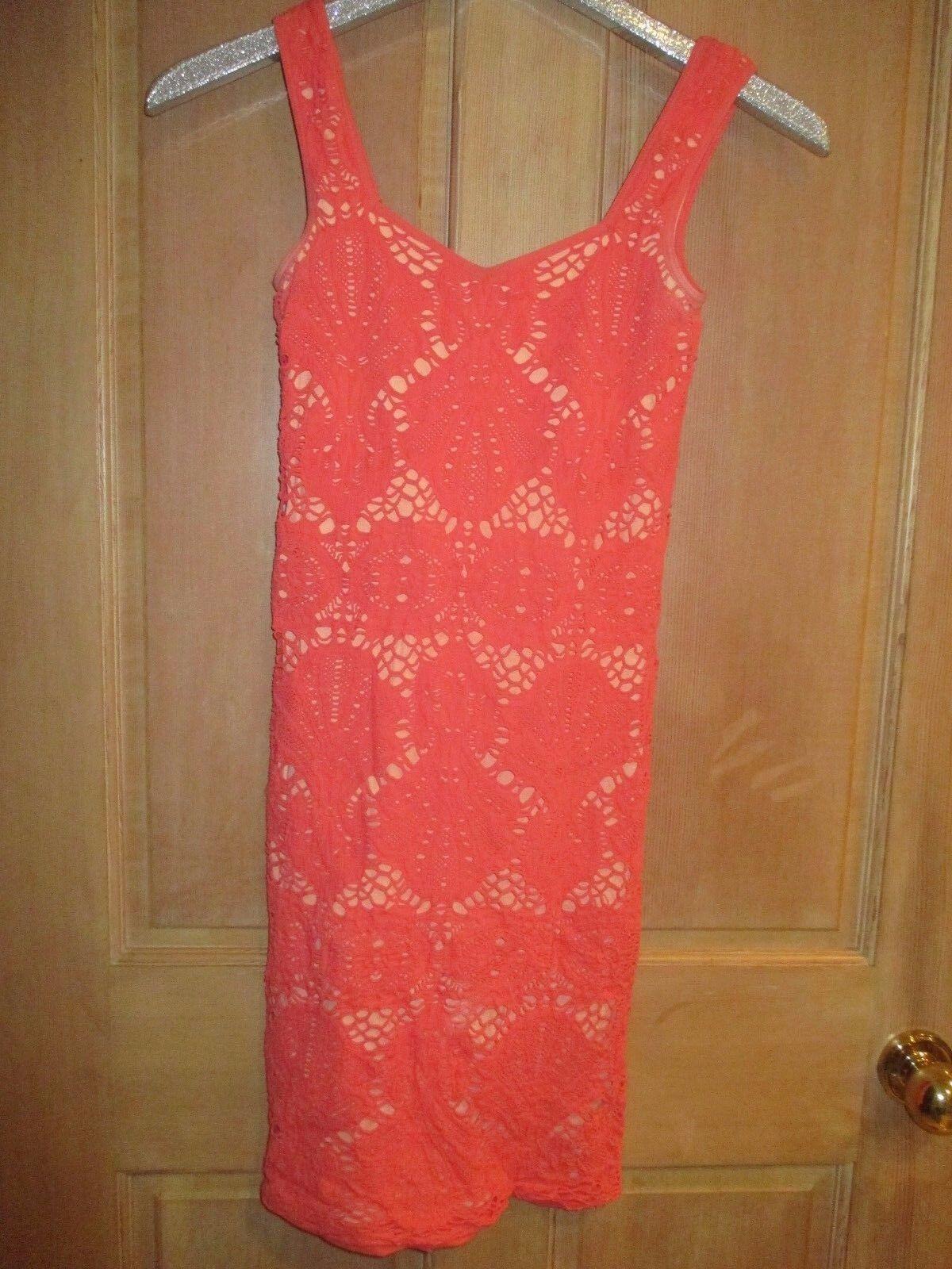 EUC  Free People MINI DRESS TOP TUNIC SHIRT M L Bodycon Clubwear Peach Coral