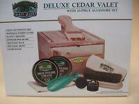 Deluxe Cedar Valet – Cedar Shoe Shine Box With Accessories- Brand