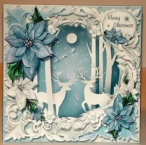 Handmade-Greeting-Card-3D-Christmas-With-Deer-amp-Poinsettia-Flowers-And-Santa