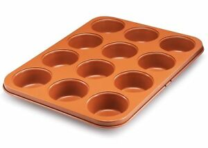 Gotham Steel Bakeware Copper Muffin Baking Pan - Nonstick - 12 Cup Cupcake Baker