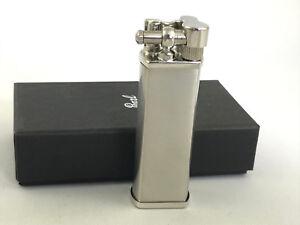 Pearl-Bolbo-Chrome-gebuerstet-Feuerzeug-Made-in-Japan-Pfeife-schraege-Flamme