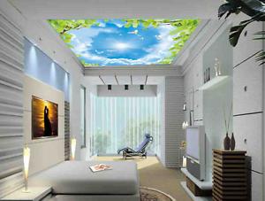 3D Bird Sun Leaves 8 Ceiling WallPaper Murals Wall Print Decal Deco AJ WALLPAPER