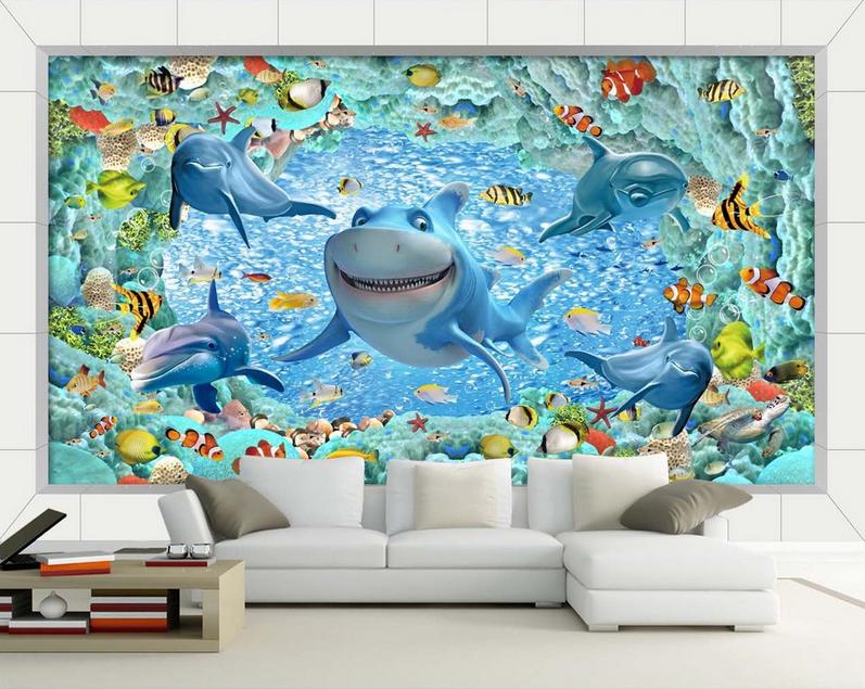 3D Dolphin Film 875 Tapete Wandgemälde Tapete Tapeten Bild Familie DE Summer