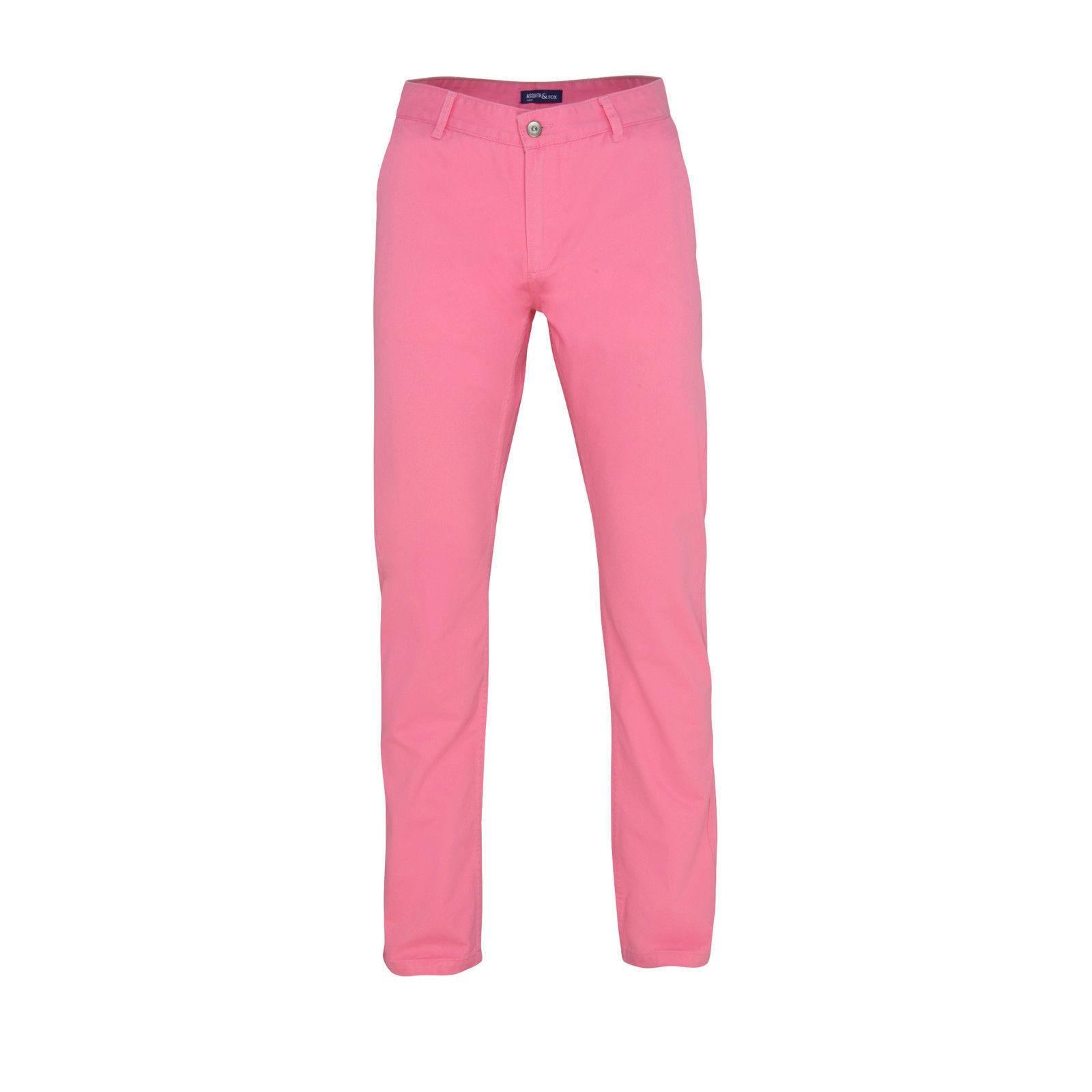 Mens Jeans Sid Pants Pink Trousers Straight Leg Regular Fit Cotton 36W 32L