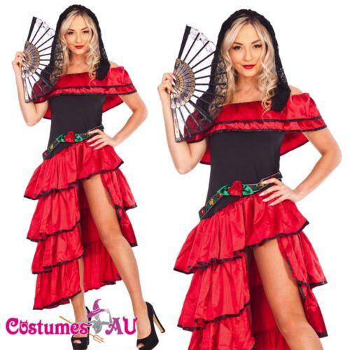 Spanish Mexican Flamenco Latin Dancer Costume Can Can Saloon Dancing Fancy Dress