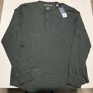 c7374b5dffa True Religion Green Long Sleeve Henley Shirt Cotton Ribbed  90 Men s ...