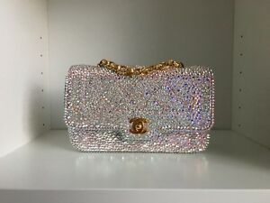 a378fcc26b66 Image is loading Chanel-pink-Swarovski-Crystal-Strass-Mini-Classic-Flap-