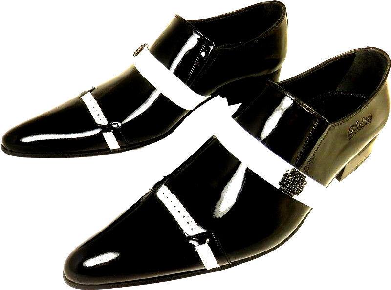 Chelsy Monospalla Nero Bianco Scarpa Da Uomo in Slipper pelle verniciata suola in Uomo cuoio 45 c7aac5