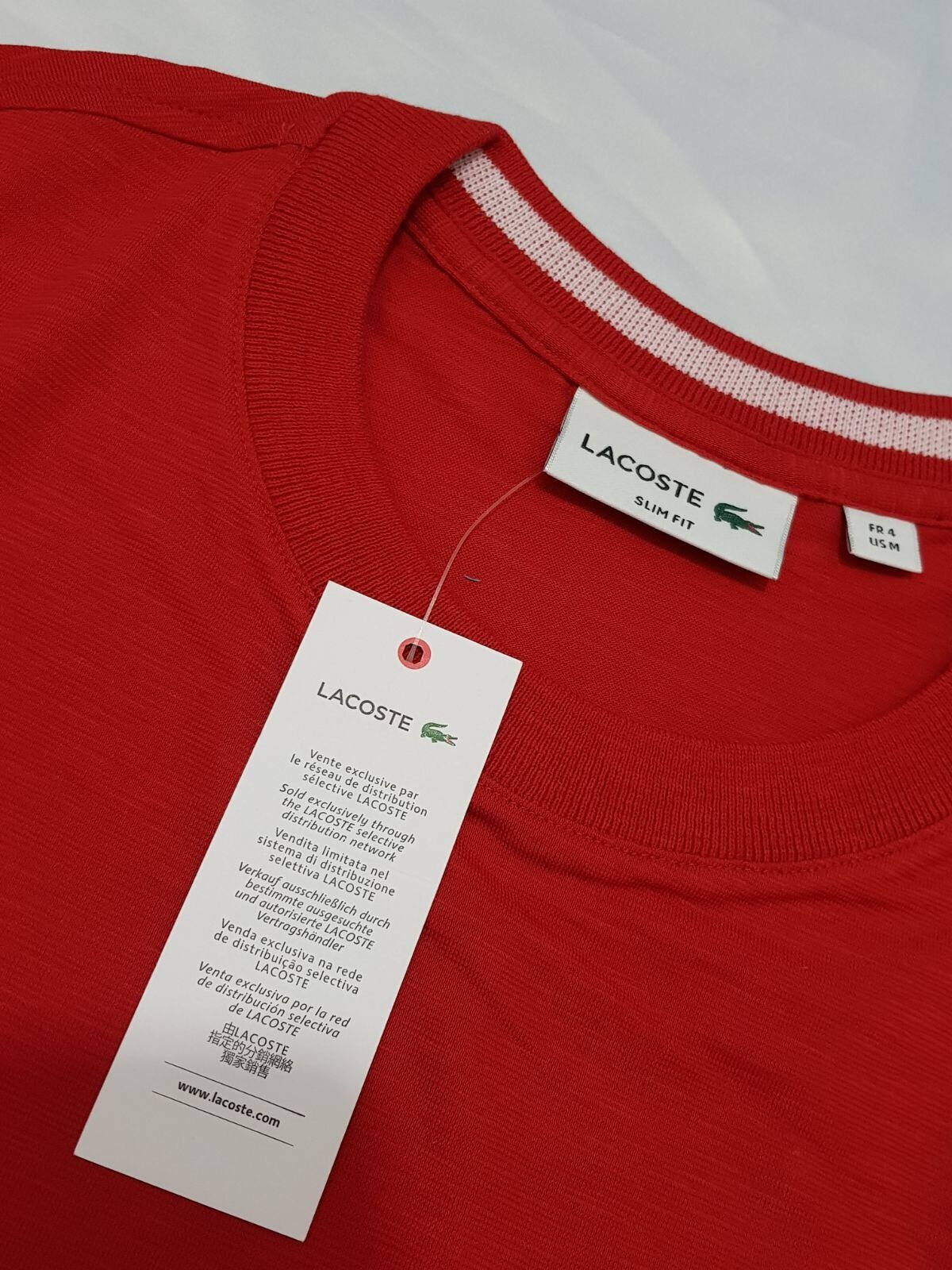 Shirt Coton Rouge Fit Tee Genuine T Slim Homme Lacoste Logo bgy6Y7f