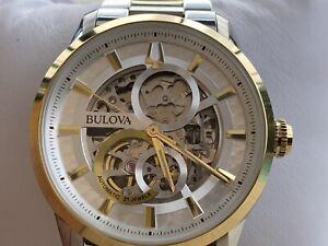 Bulova-98A214-Sutton-Automatic-Silver-Skeleton-Dial-Two-tone-Men-039-s-Watch