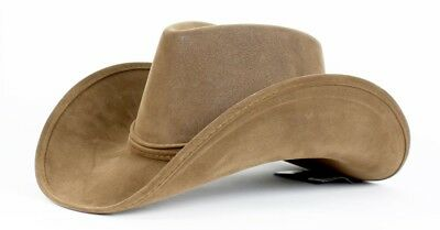 Faux Leather Frontier Cowboy Cowgirl Western Sheriff Costume Hat Adult Brown