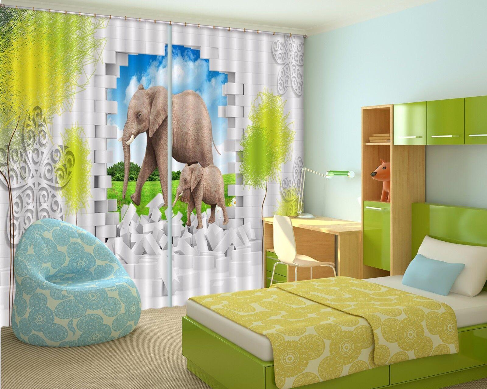 Elefante 3D 002 Cortinas de impresión de cortina de foto Blockout Tela Cortinas Ventana Reino Unido