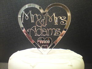 WEDDING-CAKE-TOPPER-PERSONALISED-MR-amp-MRS-ACRYLIC-MIRROR-CHOICE-OF-FONTS-NEW