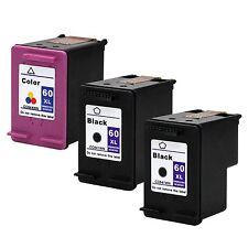 3PKs HP 60XL 60 XL Ink Black & Color DeskJet F2420 F2423 F2430 D2545 D2560 D2645