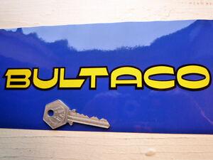 BULTACO-TEXT-Yellow-amp-Black-Motorcycle-STICKERS-8-034-Pair-Classic-Bike-Retro