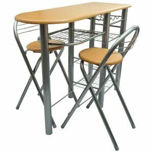 Dettagli su Tavolo da cucina con sedie set in legno e acciaio
