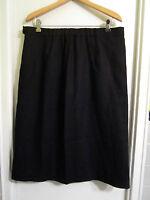 Marina Rinaldi By Max Mara 25 Us Xl 16 Black Linen Pencil Skirt Fully Lined
