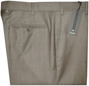 325-NEW-ZANELLA-DEVON-KHAKI-TAUPE-WEAVE-SUPER-120-039-S-WOOL-DRESS-PANTS-36