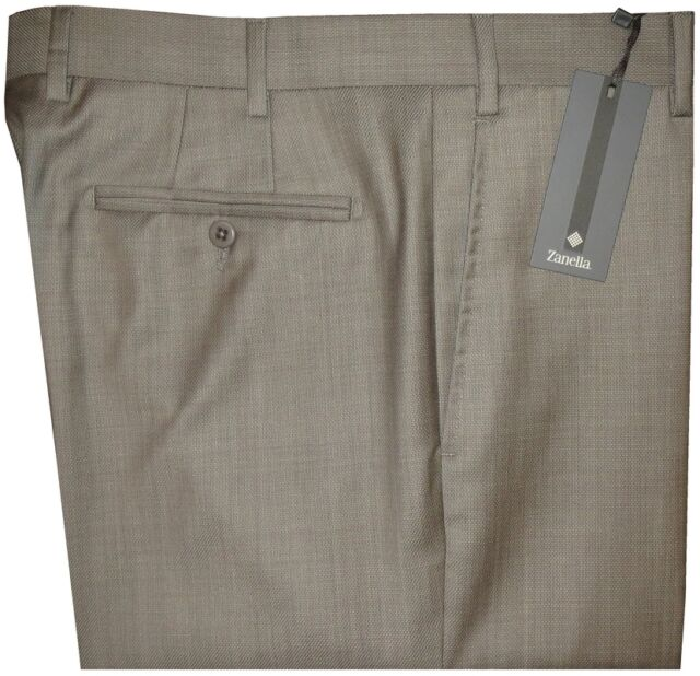 $325 NEW ZANELLA DEVON KHAKI TAUPE WEAVE SUPER 120'S WOOL DRESS PANTS 33