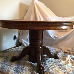 Antique Oak Claw Foot Split Pedestal Base Dining Room Table 47 In Diameter Ebay