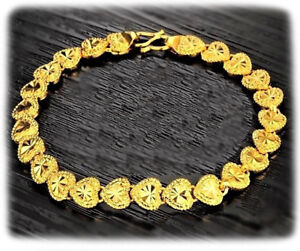 24k-Yellow-Gold-Linked-Chain-Hearts-Womens-Bracelets-Bangle-Large-9-034-GiftP-D149
