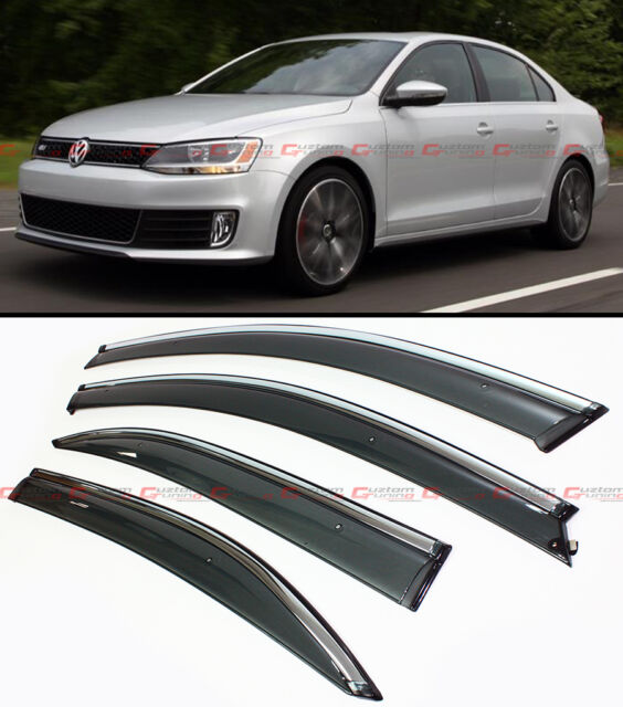 SMOKE TINTED CLIP ON WINDOW VISOR W/ CHROME TRIM FOR 2011-2015 VW A6 JETTA SEDAN
