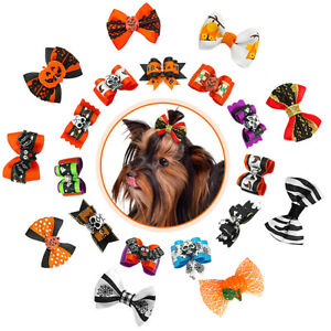 20//100pcs Halloween Small Dog Hair Bows Cat Puppy Grooming Accessories Chihuahua