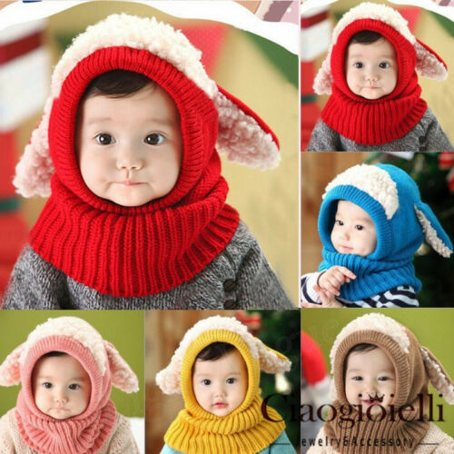 Kids Winter Hats Children Crochet Warm Wool Hat Caps Coif Hood Scarf Set UK
