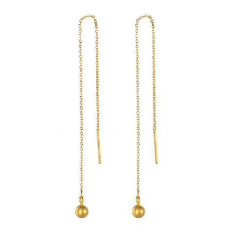5 paire Boucle d/'oreill Pendentif Perles Acier Inoxydable Doré Bijoux 14cm